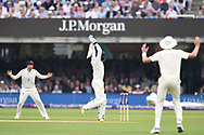 England fielders go up as Azhar Ali of Pakistan gives up a half chance on DAy Two of the NatWest Test Match match at Lord's, London<br /> Picture by Simon Dael/Focus Images Ltd 07866 555979<br /> 25/05/2018
