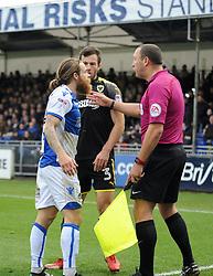 Stuart Sinclair of Bristol Rovers appeals to the assistant referee - Mandatory by-line: Neil Brookman/JMP - 18/11/2017 - FOOTBALL - Memorial Stadium - Bristol, England - Bristol Rovers v AFC Wimbledon - Sky Bet League One