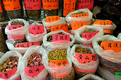 Many types of teas for sale in a market in Hong Kong