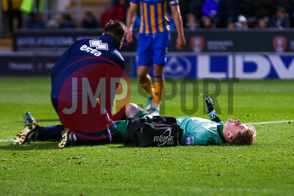 Dean Henderson of Shrewsbury Town receives treatment - Mandatory by-line: Ryan Crockett/JMP - 18/11/2017 - FOOTBALL - Aesseal New York Stadium - Rotherham, England - Rotherham United v Shrewsbury Town - Sky Bet League One