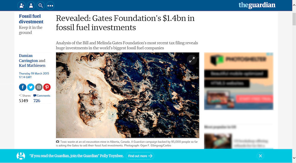 The Guardian March 2015.   http://www.theguardian.com/environment/2015/mar/19/gates-foundation-has-14bn-in-fossil-fuels-investments-guardian-analysis