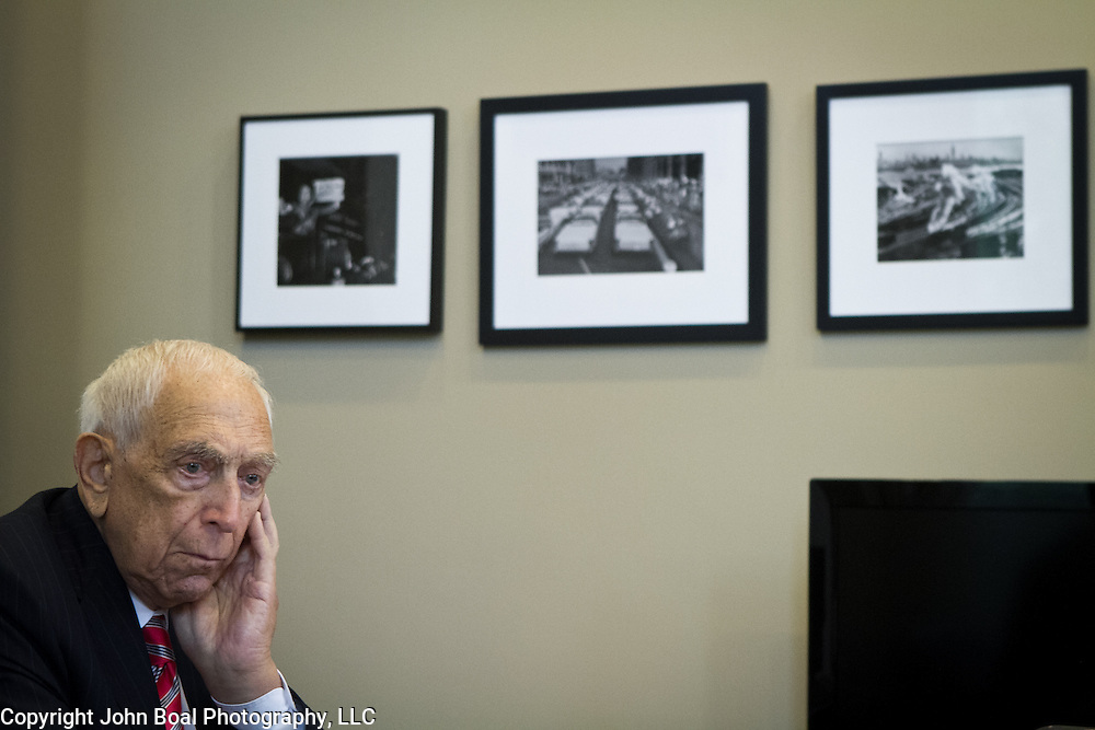Senator Frank Lautenberg (D-NJ) met with staff members inside his office in Washington following a hearing to vote for an Obama administration nominee on Thursday, May 16, 2013.  Sen. Lautenberg had not been in Washington since February 28, as weakness in his legs has prevented him from traveling to the Capitol.  He died only a few weeks later, on June 3, 2013. John Boal Photography