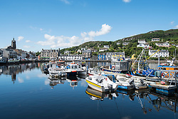 View of harbour at Tarbert on Kintyre peninsula in Argyll and Bute in Scotland, United Kingdom