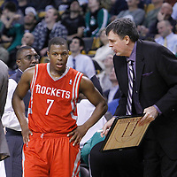 06 March 2012: Houston Rockets point guard Kyle Lowry (7) listens to Houston Rockets head coach Kevin McHale during the Boston Celtics 97-92 (OT) victory over the Houston Rockets at the TD Garden, Boston, Massachusetts, USA.