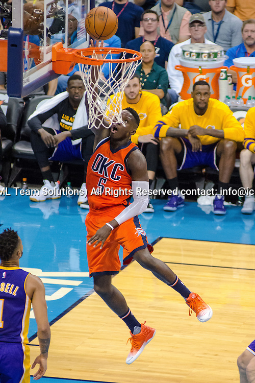 OKLAHOMA CITY, OK - OCTOBER 30:  Oklahoma City Thunder Guard Victor Oladipo (5) lays the ball up for two points versus the Los Angeles Lakers.  October 30, 2016, at the Chesapeake Energy Arena Oklahoma City, OK. (Photo by Torrey Purvey/Icon Sportswire)