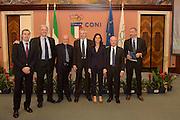DESCRIZIONE : Roma Basket Day Hall of Fame 2014<br /> GIOCATORE : Simone Pianigiani Fabrizio Della Fiori Alberto Bucci Marino Zanatta Mara Fullin Toto Bulgheroni<br /> SQUADRA : FIP Federazione Italiana Pallacanestro <br /> EVENTO : Basket Day Hall of Fame 2014<br /> GARA : Roma Basket Day Hall of Fame 2014<br /> DATA : 22/03/2015<br /> CATEGORIA : Premiazione<br /> SPORT : Pallacanestro <br /> AUTORE : Agenzia Ciamillo-Castoria/GiulioCiamillo