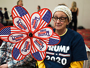 16 JANUARY 2020 - DES MOINES, IOWA: CONNIE ANDERSON, from Altoona, IA, holds up a Trump pinwheel at the Women for Trump rally in Airport Holiday Inn in Des Moines. About 200 women attended the event, which featured Lara Trump, Mercedes Schlapp, and Kayleigh McEnany, surrogates on the campaign trail for President Donald Trump.           PHOTO BY JACK KURTZ