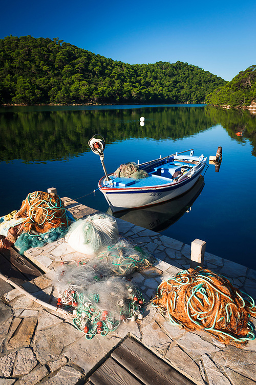 Fishing boat and nets, Soline, Mljet Island National Park, Dalmatia, Croatia