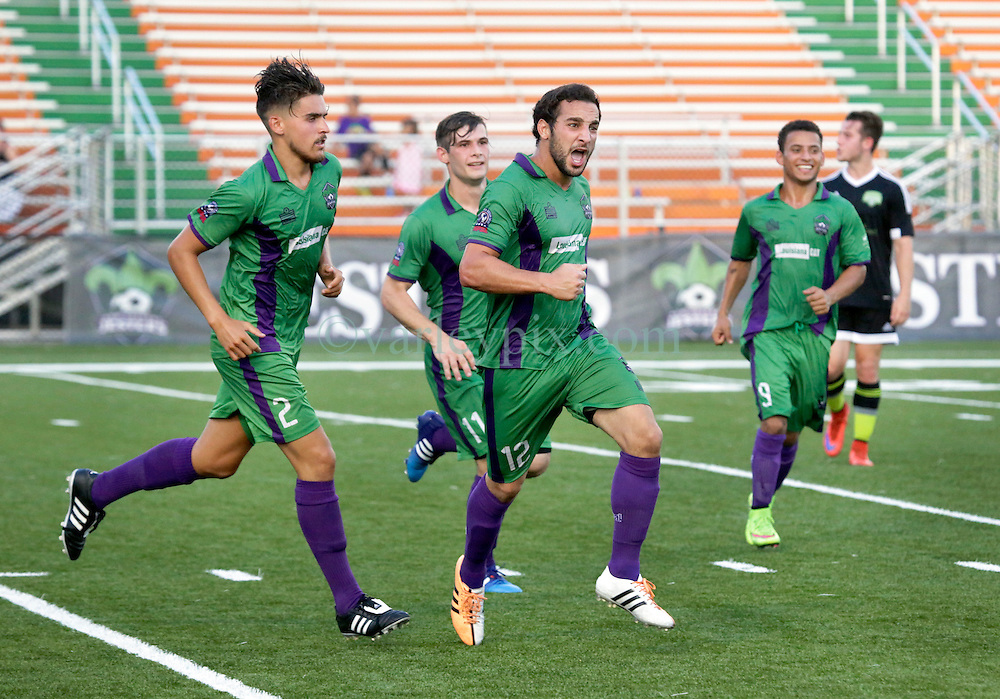 20 June 2015. New Orleans, Louisiana.<br /> National Premier Soccer League. NPSL. <br /> Jesters 1 - Knoxville 1.<br /> Goal celebrations for the Jester's Anthony Judice to level the score. The New Orleans Jesters play Knoxville Force at home in the Pan American Stadium. Jesters drew 1-1 with Knoxville.<br /> Photo; Charlie Varley/varleypix.com