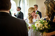 Annapolis, Maryland - April 18, 2015: Stephanie Shearer Cate talks to bridesmaid Jessica Hirshorn after she married Winston Bao Lord at their friends Jeff and Marry Zients' house in Annapolis, Maryland Saturday April 18, 2015. <br /> <br /> <br /> <br /> CREDIT: Matt Roth for The New York Times<br /> Assignment ID: 30173318A