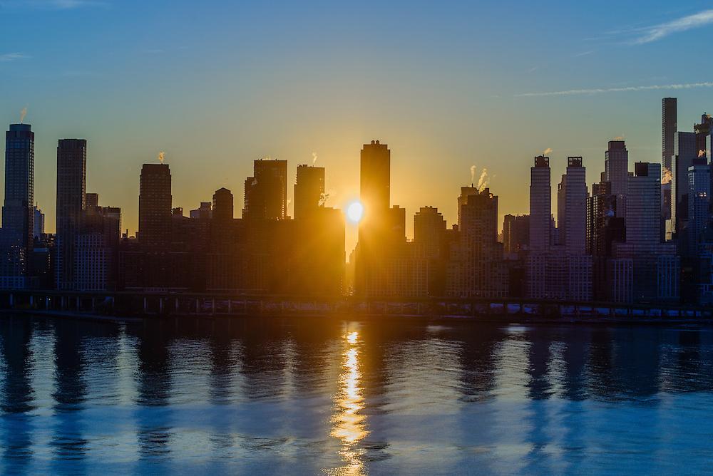 Sunrise Manhattan, View From Roof,  Nine on the Hudson, West New York, NJ