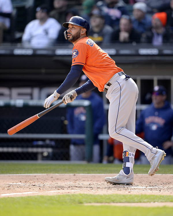 CHICAGO - APRIL 22:  Marwin Gonzalez #9 of the Houston Astros bats against the Chicago White Sox on April 22, 2018 at Guaranteed Rate Field in Chicago, Illinois.  (Photo by Ron Vesely)   Subject:   Marwin Gonzalez