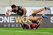 Lions Vince Aso scores a try during the Mitre 10 Cup rugby match between the Wellington Lions & Canterbury at Westpac Stadium, Wellington. Friday 23rd August 2019. Copyright Photo: Grant Down / www.Photosport.nz