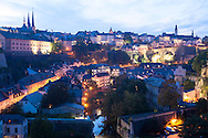 LUX, Luxembourg, city of Luxembourg, view across the district Grund to the Cathedral Notre-Dame (left) and the church St. Michel (right), the river Alzette.<br /> <br /> LUX, Luxemburg, Stadt Luxemburg, Blick ueber den Stadtteil Grund zur Kathedrale Notre-Dame (links) und zur St. Michaels Kirche (rechts), der Fluss Alzette.
