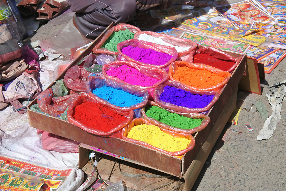 Coloured Power for sale in the market place, Kathmandu