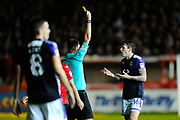 Glen Rea (16) of Luton Town is shown a yellow card, booked by referee James Linington during the EFL Sky Bet League 2 match between Exeter City and Luton Town at St James' Park, Exeter, England on 17 October 2017. Photo by Graham Hunt.