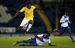 Sammy Ameobi of Bolton Wanderers is tackled by Leon Barnett of Bury - Mandatory by-line: Robbie Stephenson/JMP - 24/10/2016 - FOOTBALL - Gigg Lane - Bury, England - Bury v Bolton Wanderers - Sky Bet League One