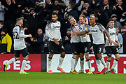 Celebrations as Derby County defender Matthew Clarke scores the opening goal during the EFL Sky Bet Championship match between Derby County and Hull City at the Pride Park, Derby, England on 18 January 2020.
