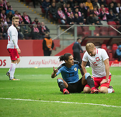 November 10, 2017 - Warsaw, Poland - Mauricio Lemos (U19) and Kamil Glik (P15) during the international friendly soccer match between Poland and Uruguay at the PGE National Stadium in Warsaw, Poland on 10 November 2017  (Credit Image: © Mateusz Wlodarczyk/NurPhoto via ZUMA Press)