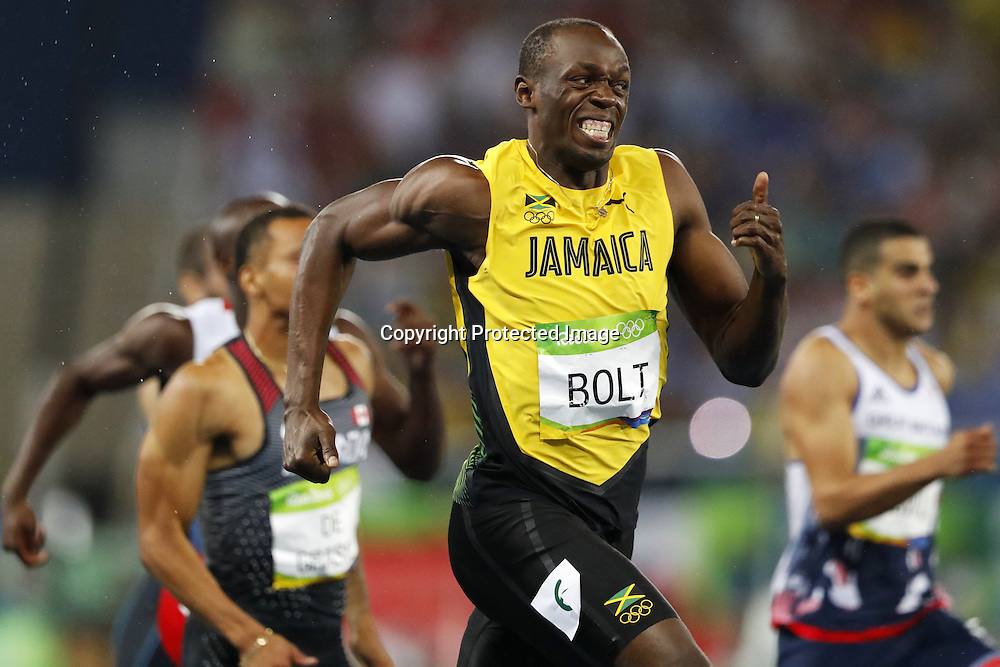 Usain Bolt (JAM), AUGUST 18, 2016 - Athletics : <br /> Men's 200m Final  <br /> at Olympic Stadium <br /> during the Rio 2016 Olympic Games in Rio de Janeiro, Brazil. <br /> (Photo by Yusuke Nakanishi/AFLO SPORT)