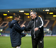3rd February 2018, Dens Park, Dundee, Scotland; Scottish Premier League football, Dundee versus Ross County; Ross County boss Owen Coyle with two goal Alex Schalk at the end