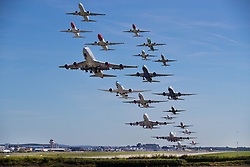 © Licensed to London News Pictures. 13/08/2017. Crawley, UK.  All 21 aircraft that took off from Gatwick in one hour from 10:00 to 11:00 hours are shown together in this combined image. Gatwick airport expect today to be their busiest of the summer with 168,000  passengers arriving and departing.  Photo credit: Peter Macdiarmid/LNP