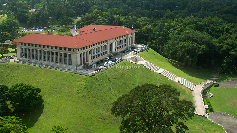 Aerial view of the Panama Canal administration building, Panama.