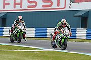 #66 Tom Sykes / GBR / Kawasaki ZX-10R / Kawasaki Racing Team leads #1 Jonathan Rea / GBR / Kawasaki ZX-10R / Kawasaki Racing Team during the 2016 World Superbike Championship at Donington Park, Castle Donington, United Kingdom on 28 May 2016. Photo by Jon Hobley.
