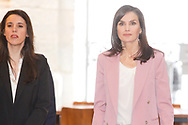 Queen Letizia of Spain attends working meeting with APRAMP at Escuelas Pias on March 6, 2020 in Madrid, Spain