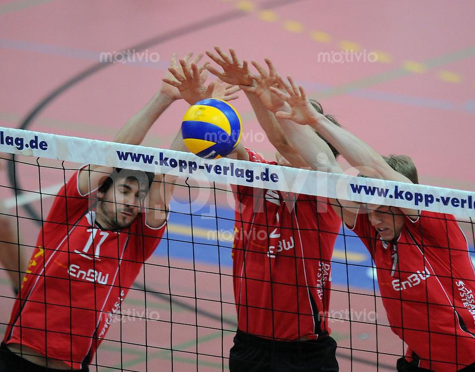 Volleyball  1. Bundesliga  2008/200909.03.2009 ENBW TV Rottenburg  - TSV Giesen/Hildesheim TV R Block, Thomas Welz, Benny Stefanski und Dik Mehlberg
