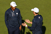 Tiger Woods (Usa) and Jordan Spieth (Usa) during the practice round of Ryder Cup 2018, at Golf National in Saint-Quentin-en-Yvelines, France, September 27, 2018 - Photo Philippe Millereau / KMSP / ProSportsImages / DPPI