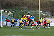 Ebbsfleet goalkeeper Nathan Ashmore punches clear during the National League South Play Off 1st Leg match between Whitehawk FC and Ebbsfleet United at the Enclosed Ground, Whitehawk, United Kingdom on 4 May 2016. Photo by Phil Duncan.