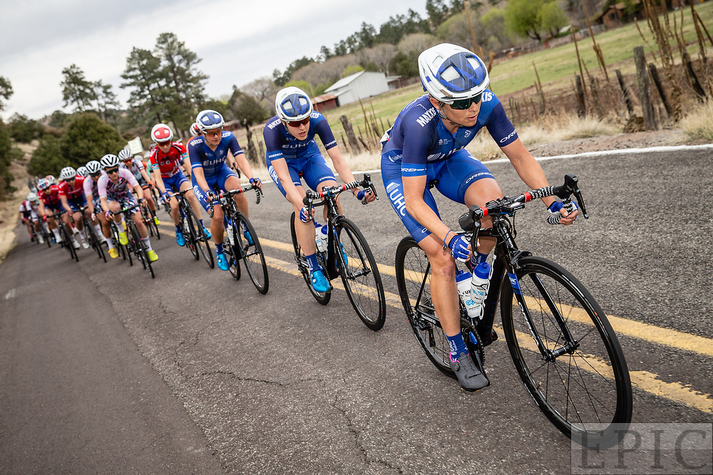 SILVERY CITY, NM - APRIL 22: Lauren Hall (UnitedHealthcare Pro Cycling Team) leads the peloton during stage 5 of the Tour of The Gila on April 22, 2018 in Silver City, New Mexico. (Photo by Jonathan Devich/Epicimages.us)