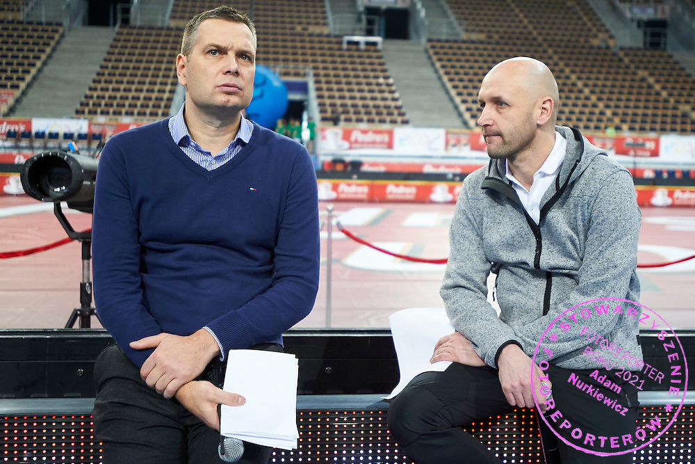 (L) Sebastian Chmara and (R) Pawel Januszewski  during Youth Pedro&rsquo;s Cup by Caroline B. LeFrak Foundation while athletics meeting Pedro's Cup at Atlas Arena in Lodz, Poland.<br /> <br /> Poland, Lodz, February 17, 2015<br /> <br /> Picture also available in RAW (NEF) or TIFF format on special request.<br /> <br /> For editorial use only. Any commercial or promotional use requires permission.<br /> <br /> Adam Nurkiewicz declares that he has no rights to the image of people at the photographs of his authorship.<br /> <br /> Mandatory credit:<br /> Photo by &copy; Adam Nurkiewicz / Mediasport