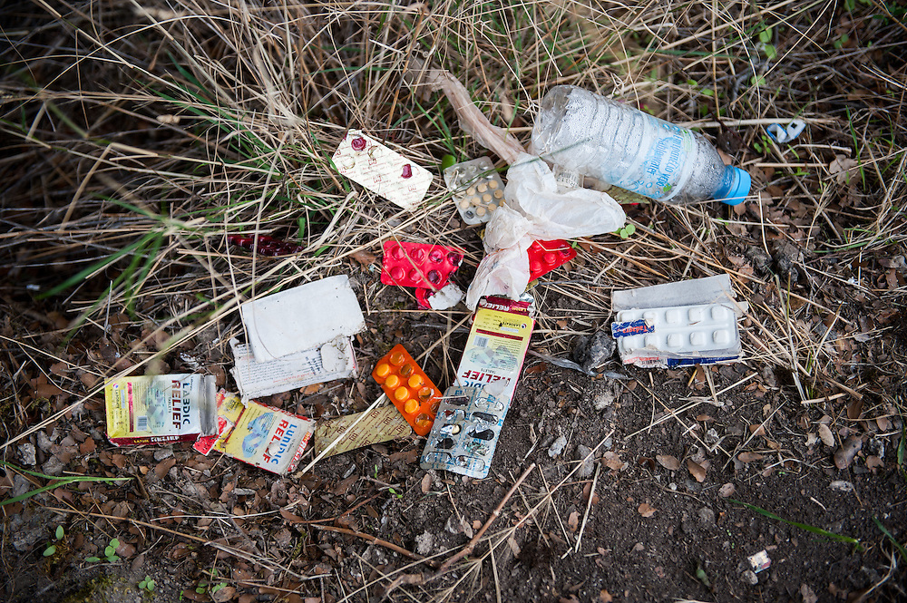 Discarded medicine near Skala Sykamias, Lesvos, Greece. When the refugees and migrants walk from Skala Sykamias to the main road they trough away their wet possessions.