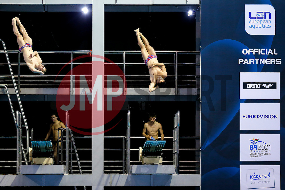 Jack Laugher and Chris Mears of Great Britain in action in the Mens 3m Synchronised Springboard Preliminary - Photo mandatory by-line: Rogan Thomson/JMP - 07966 386802 - 22/08/2014 - SPORT - DIVING - Berlin, Germany - SSE im Europa-Sportpark - 32nd LEN European Swimming Championships 2014 - Day 10.