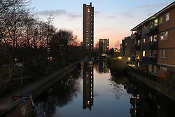 UK ENGLAND LONDON 22MAR16 - View of Trellick Tower across the Grand Union Canal from Great Western Road bridge, Westbourne Park, west London.<br /> <br /> jre/Photo by Jiri Rezac<br /> <br /> <br /> <br /> &copy; Jiri Rezac 2016