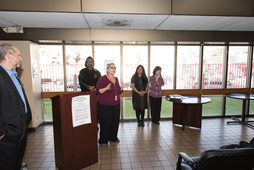 Mary Travis-Allen Speaking at Woods Division Systemwide Operator of the Month Ceremony   January 12, 2018