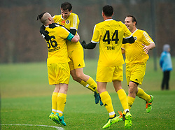 Roy Krawcewicz, Dominic Thiem and Dennis Novak of 1st TFC celebrate after scoring second goal for 1st TFC during friendly football match between NK Fantazisti (SLO) and 1st TFC - First Tennis & Football Club (AUT) presented by professional and former tennis players, on November 25, 2017 in Nacionalni nogometni center Brdo pri Kranju, Slovenia. Photo by Vid Ponikvar / Sportida