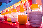 Colorful fruit drinks called agua fresca on sale at the Tuesday Market in San Miguel de Allende, Guanajuato, Mexico.
