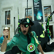 Bp-or-not-BP stage a splash mob art intervention at the British Museum in protest against the continued BP sponsorship of the exhibition 'Sunken Cities' 25th of September 2016.  BP pirates calling for more oil exploration. A flock of merfolk and BP pirates roamed the museum as well as a kraken, a giant sea monster.