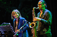 Chika Asimoto and band performing at the Ubud Village Jazz Festival, Ubud, Bali, Indonesia, 09/08/2013.