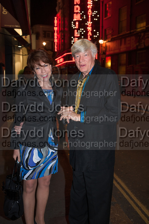 KATHY LETTE; GEOFFREY ROBERTSON, The press night performance of the Menier Chocolate Factory's 'Merrily We Roll Along', following its transfer to the Harold Pinter Theatre, After-show party at Grace Restaurant, Gt. Windmill St. London. 1 May 2013.