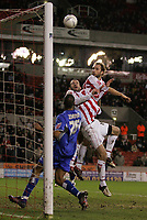 Photo: Paul Thomas.<br /> Stoke City v Millwall. The FA Cup. 05/01/2007.<br /> <br /> Danny Higginbotham (2nd R) of Stoke puts their best chance of a goal in the 1st half over the cross bar.