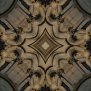 Looking up at abstract of shapes and patterns.<br /> <br /> Two or more layers were used to enhance, alter, manipulate the image, creating an abstract surrealistic mirrored symmetry.<br /> <br /> This abstract is of the Victorian Gothic style details of the Jefferson Market Library in Greenwich Village, New York City.