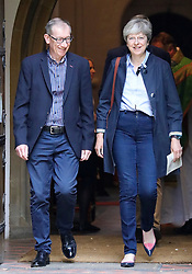 © Licensed to London News Pictures. 03/09/2017.  Prime Minister Theresa May and her husband Philip attend church in her constituency. Photo credit: J Almasi/LNP