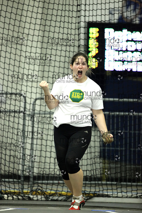 (Windsor, Ontario---11 March 2010) Annie Larose of Universite de Sherbrooke competes in the  competes in the weight throw at the 2010 Canadian Interuniversity Sport Track and Field Championships at the St. Denis Center. Photograph copyright Geoff Robins/Mundo Sport Images. www.mundosportimages.com