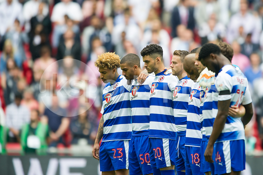 Both teams observe a minute of silence to tribute the victims of the Manchester bombing terrorist attack during the EFL Sky Bet Championship Play-Off Final match between Huddersfield Town and Reading at Wembley Stadium, London, England on 29 May 2017. Photo by Salvio Calabrese.