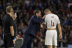 October 15, 2018 - Seville, Spain - GARETH SOUTHGATE, head coach of England, (L) speaks with ERIC DIER of England (R) during the UEFA Nations League Group A4 soccer match between Spain and England at the Benito Villamarin Stadium (Credit Image: © Daniel Gonzalez Acuna/ZUMA Wire)