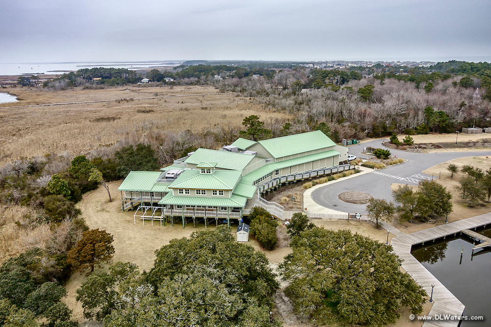 An aerial view of Outer Banks Center for Wildlife Education in Corolla, NC.